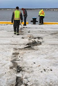 Minor expansion joint damage on dock.