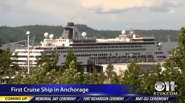 First cruise ship of summer docks in Anchorage for Memorial Day weekend